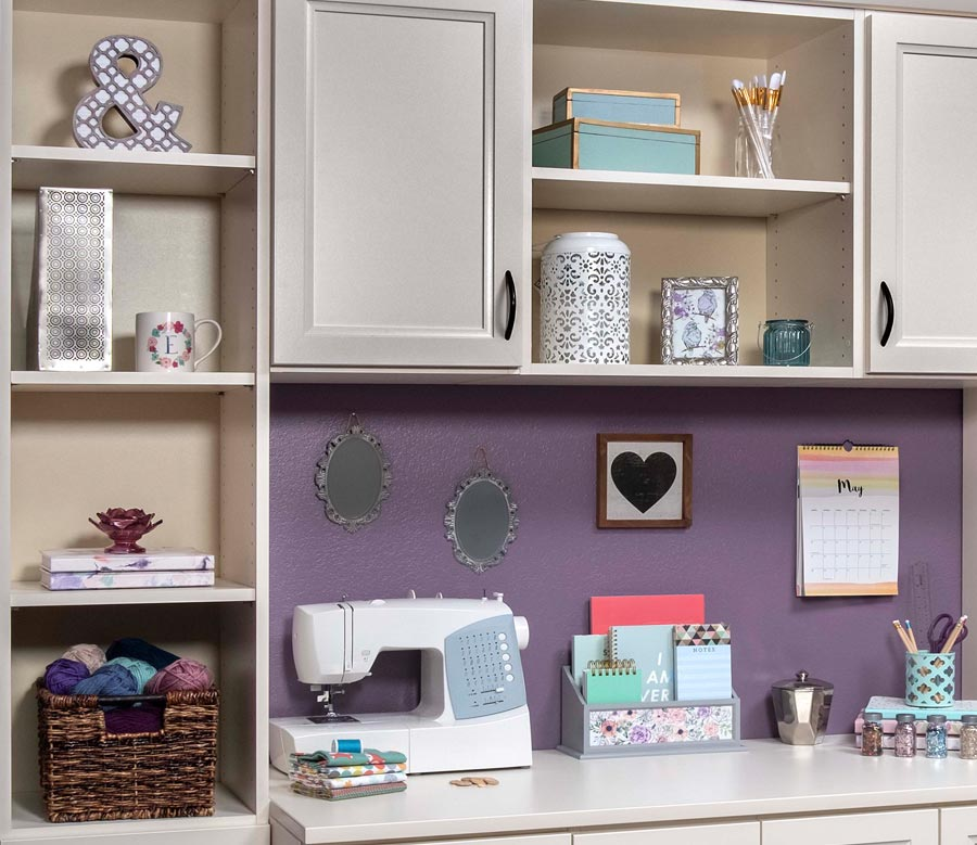 Organized craft room or utility space with adjustable shelves