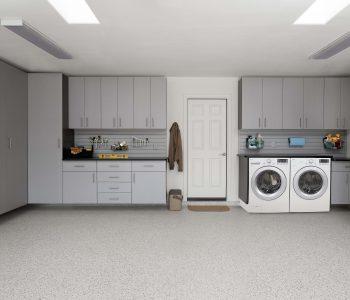 grey toned garage laundry room