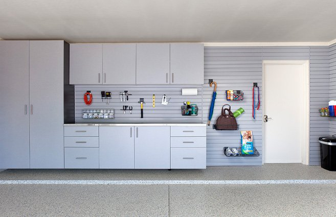  Silver Cabinets Stainless Counter Grey Slatwall Grab